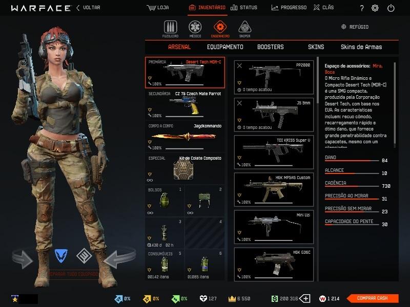 Conta Warface Ptt 74 com armas de ranqueada