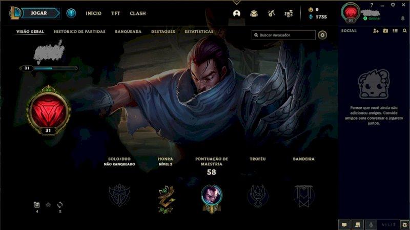 Conta LoL(League of Legends) Nível 31 Unranked