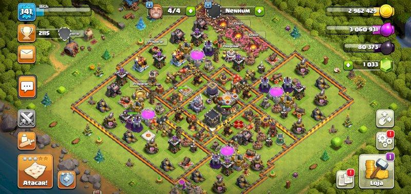 Vendo conta cv11 muros nvl 11 heróis nvl 35+ tropas bem upadas+1000gemas