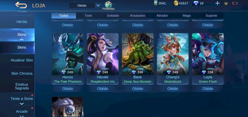 Lenda 1 ( mitico 3 ) , 89 skin, 3 emblemas full