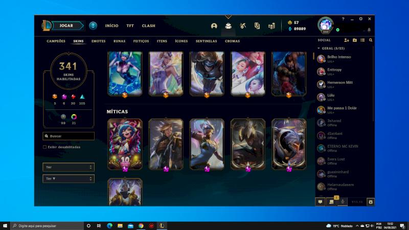 vendo conta de league of legends 341 skins