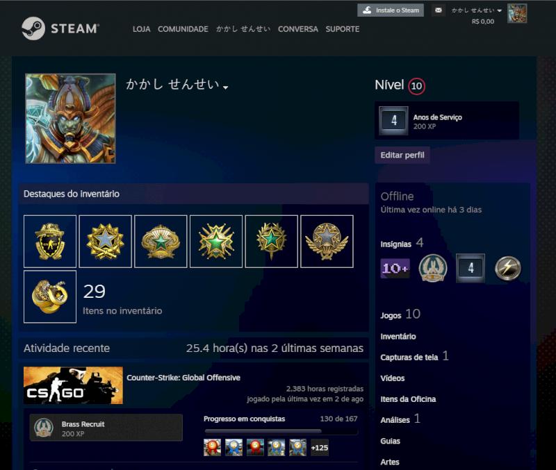 conta steam 4 anos csgo prime varias medalhas