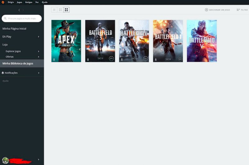 Conta da Origin com 5 jogos (BF3, BF4, BF1 e BF5)