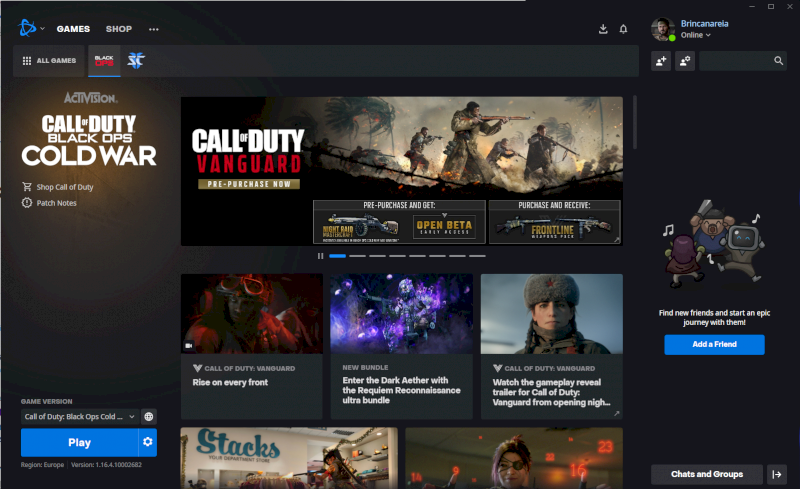 Vendo Conta Call of Duty Cold War + Starcraft 2