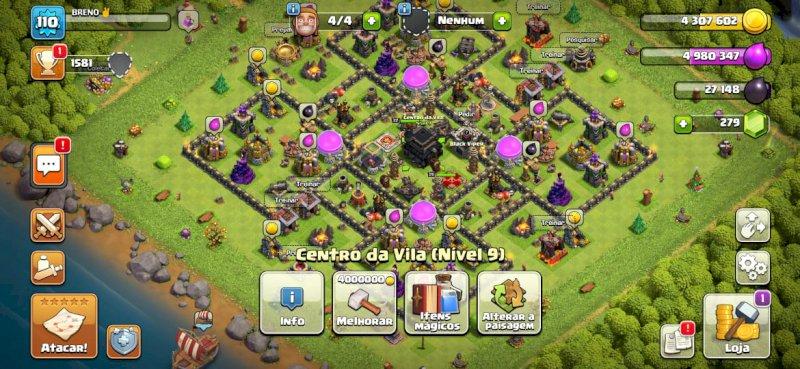 Conta Clash of Clans CV9 full, com 4 construtores e 279 gemas