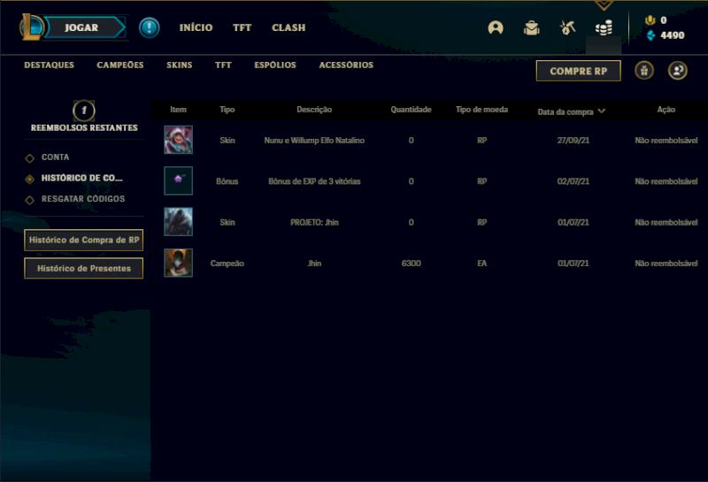 Conta ouro 4 com 12 skins e 40 champs