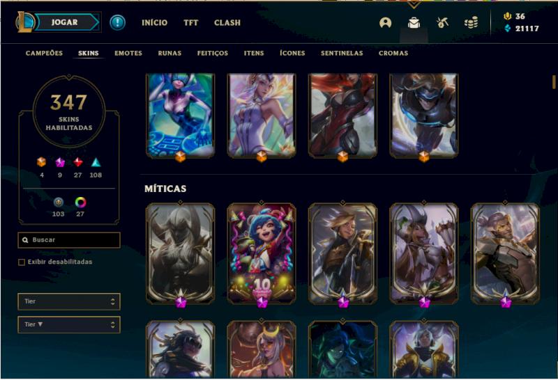 Conta Gold I, todos os campeões, 347 skins, nível 301, 21k EA