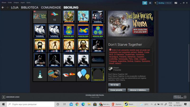 conta steam. Negocio o preço... 25 jogos+ skins em cs go - r6 - brawhalla - etc.