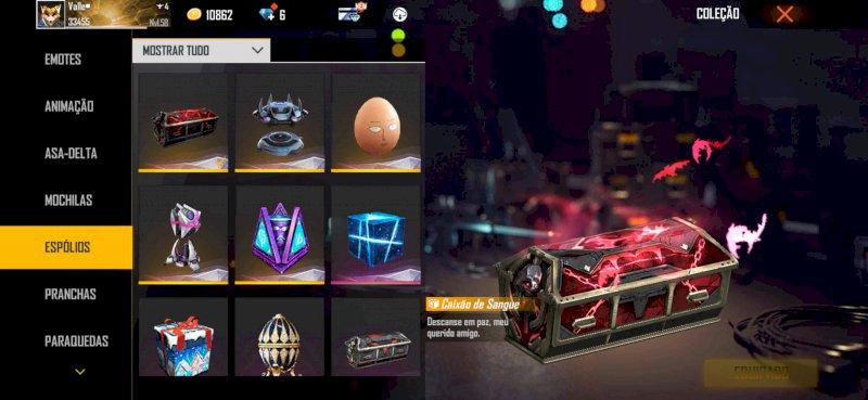 Conta Free fire , com alguns itens de diamante Royale , e eventos , personagens