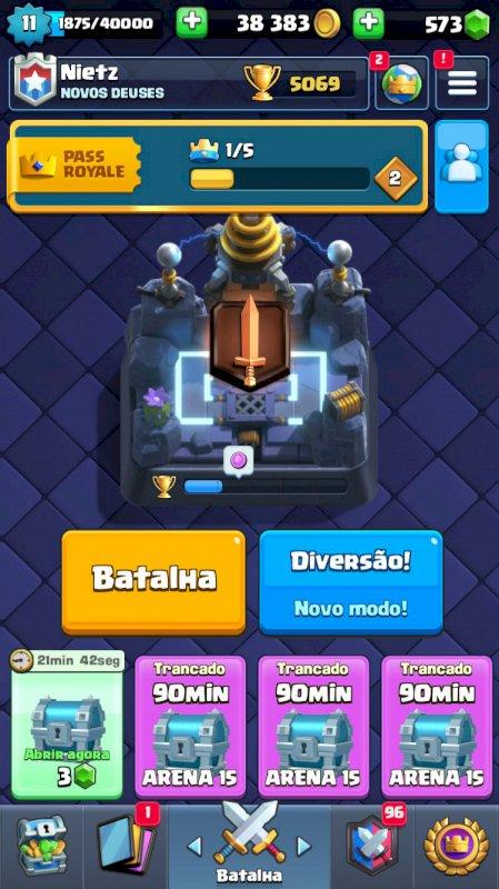 Conta Clash Royale, nível 11, quase todas as cartas, 573 gemas