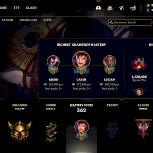Vendo conta gold4 com quase todos os adc e algumas skins lendárias