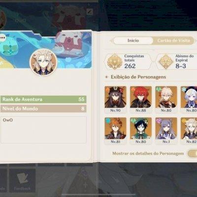 Conta Genshin Impact com 9 personagens 5* e duas armas 5*