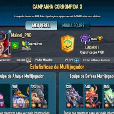 Conta de Monster Legends, com vários passes, Muitos monstros upados