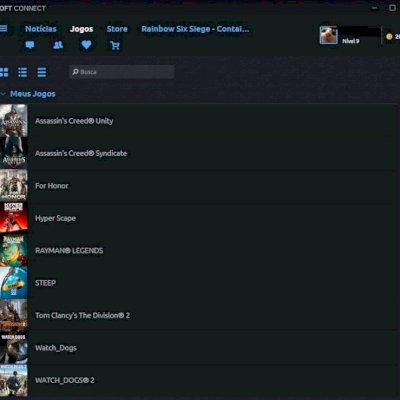 Conta da Ubisoft com 9 jogos (AC Unity e Syndicate, Rayman, WatchDogs 1 e 2 ...)
