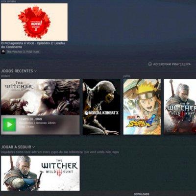 Conta Steam, com 5 jogos: Mk XL, Trilogia The Witcher e Naruto Storm 4
